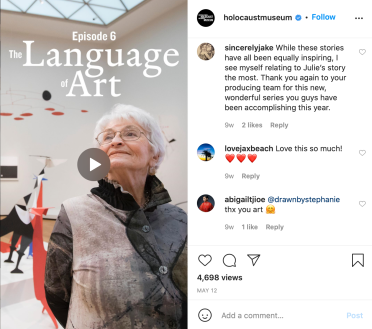 Comments on some of the other 'Next Chapter' videos as shared on Instagram – a user directly identifies as relating to Julie Keefer (L),